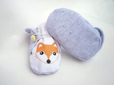 Cool summer baby shoes, toddler shoes, girls slippers, newborn crib shoes, baby booties, 100% cotton, fox