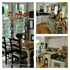 Kitchen table and chairs, Great chandelier and small lamp shades from The Endearing Home