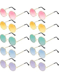 e3728e4499 Blulu 10 Pairs Round Hippie Sunglasses John 60 s Style Circle Colored  Glasses