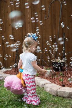 Get a bubble machine for constant bubbles for bubble guppies party outside