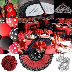 spanish themed table | Olé, Olé, Olé! For this theme think bold red and black, polka dots ...