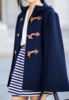Navy Cape, Blue and White Striped Skirt