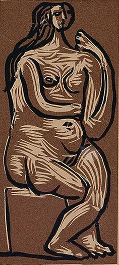 Pablo Picasso (1881-1973), 1962, Femme nue assise (Naked woman sitting), color linoleum cut.