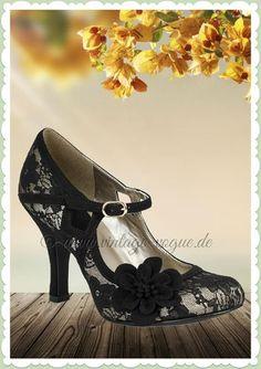 Ruby Shoo 40er Jahre Vintage Schuhe Blumen Pumps - Elsy - Schwarz Gold  Vintage Retro Spitzen Pumps in schwarz & gold Aus Kunstleder & Textil