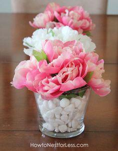 dollar store flower vases vertical for center piece
