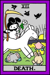 What Are Tarot Cards? Made up of no less than seventy-eight cards, each deck of Tarot cards are all the same. Tarot cards come in all sizes with all types of artwork on both the front and back, some even make their own Tarot cards Tarot Death, Wall Collage, Wall Art, Hello Kitty Wallpaper, Room Posters, My Melody, Indie Kids, Creations, Poster Prints