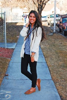 blue plaid, leggings, loafers, chunky white sweater