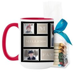 Love Family Stamps Mug, Red, with Ghirardelli Assorted Squares, 15 oz, Black