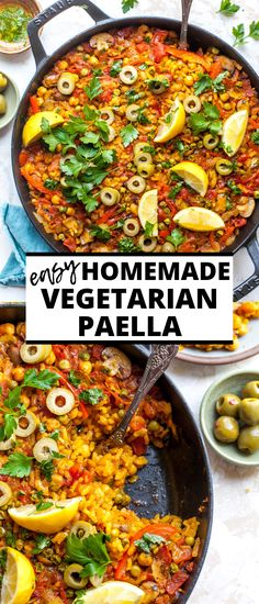 Easy Vegetarian Paella Recipe - - Vegetarian Paella made in less than one hour with simple ingredients. This recipe brings all the flavor and comfort of the classic Spanish rice dish to your own kitchen. Vegetarian Paella, Tasty Vegetarian Recipes, Vegetarian Recipes Dinner, Vegan Dinners, Veggie Recipes, Healthy Recipes, Recipes For Vegetarians, Mediterranean Vegetarian Recipes, Vegetarian Recipes