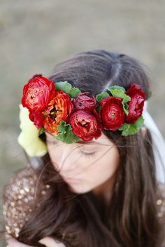 no headbands but i like the type of flower and the deep red colors to go with a vintage and fall theme and not look too typical fall wedding   84 Hot Red Wedding Ideas To Get Inspired | HappyWedd.com