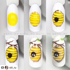 Paso a paso . Animal Nail Designs, Fruit Nail Designs, Animal Nail Art, Nail Art Designs Videos, Nail Art Videos, Ladybug Nails, Bee Nails, Mickey Nails, Nail Drawing