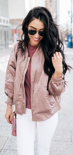 #spring #fashion  Beige Jacket & White Skinny Jeans & Pink Top