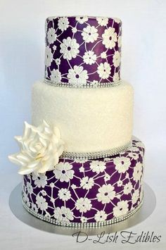 Purple Lace Wedding Cake.  Would look awesome if under fondant was purple fading into emerald.