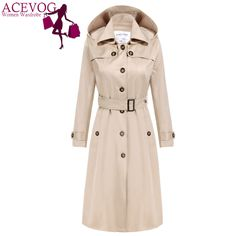 ACEVOG Brand X-Long Maxi Long Trench Coat Women OL Ladies Long Sleeve Single Breasted Autumn Winter Trench Windbreaker Outerwear