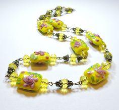 Vintage Yellow Pink Flowers Wedding Cake Lampwork Art Glass Bead Necklace AP1766  | eBay
