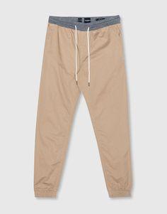 Pull&Bear - homem - básicos - calças beach cintura contraste - torrado…