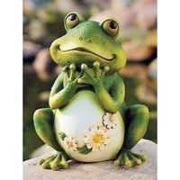 funny+frogs+for+fairy+garden | Frog Garden Figurine with Daisy Flowers