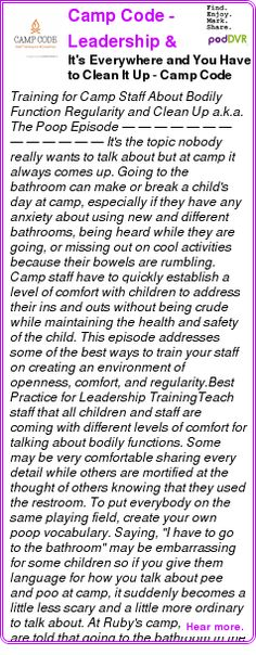 #UNCAT #PODCAST  Camp Code - Leadership & Staff Training Podcast for Camp Directors - CampHacker.TV    It's Everywhere and You Have to Clean It Up - Camp Code #28    LISTEN...  http://podDVR.COM/?c=dba7b8e4-f0c6-9d1f-77a4-638892e18c05