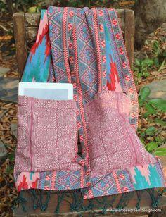 Party Pocket Scarf Pink Hmong Batik Pockets by SiameseDreamDesign