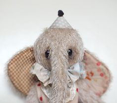 BABY Circus Elephant MOJO mohair stuffed animal - vintage style & jointed toy.  By A CURIOUS WHIM.
