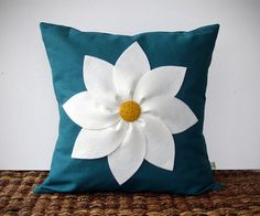 White and Yellow Flower PILLOW COVER in Teal Linen by JillianReneDecor Decorative Home Decor (16x16) Gift for Her