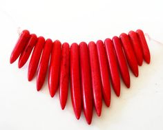 Red Gemstone Spikes Beads Red Points Magnesite by BijiBijoux, https://www.etsy.com/listing/113529456/red-gemstone-spikes-beads-red-points?ref=shop_home_active_2