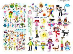 Cartoon happy children illustrator vector material