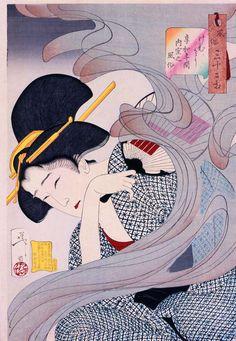 Looking Disagreeable - The Appearance of a Young Lady from Nagoya During the Ansei era by Tsukioka Yoshitoshi. Ukiyo-e. Japanese Drawing, Japanese Woodcut, Japanese Painting, Oriental, Art Japonais, Japanese Prints, Japanese Art Modern, Japanese Design, Japan Art