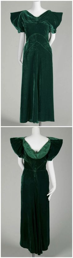 Evening dress, by Lucien Lelong, France, 1934, at the Chicago History Museum. Worn by Mrs. Thomas Taussig, née Jane Gregg Cummings, for her debut in the summer of 1934. Dress of green silk velvet. Ruching at center neck creates V-shaped neckline; draping at back. Elbow-length wing sleeves. Bias-cut, ankle-length skirt. Lining of green silk taffeta.