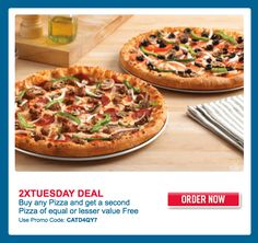 Domino's Pizza Canada Offers: Get 2 Medium Feast Pizzas – Choose from Deluxe, Pepperoni Feast, Special Veggie or Hawaiian Feast & More Offers With Promo Code Tuesday Deals, Contests Canada, Pepperoni, Vegetable Pizza, Brooklyn, Veggies, Lava, Coding, Healthy