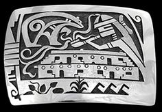 A Hopi priest sends smoke to the heavens, petitioning Bear, a great healer and the symbol of the leading clan of Hopi with prayers for healthy crops, clouds and water.  This beautiful buckle was designed and created by Hopi Silversmith, Trinidad Lucas.  It is highly polished, etched in places to add texture to the design, measures 2 by 3 inches and will accommodate up to a 1 1/2 inch belt.  Trini's hallmark, TLd inside of a bear, her clan symbol is stamped on the reverse side. 961-40169