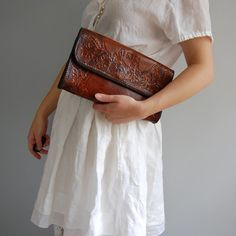 vintange hand tooled hand purse