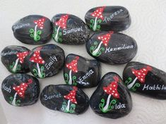 This article is not available 5 name stones with toadstool black-colored, stones with names, gift stone with names + toadstool, l Pebble Painting, Stone Painting, T Mo, Hydrangea Care, Story Stones, Best Wedding Gifts, Rock Painting Designs, One And Other, Stone Art