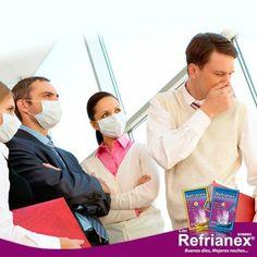 Un RESFRÍO puede transmitirse de una persona a otra propiciando contagio mediante las pequeñas gotas de saliva o secreciones nasales que se emiten sobre todo al toser o estornudar. Por eso, si estás resfriado, te recomendamos cubrirte la boca y nariz con un pañuelo desechable o con el brazo al toser o estornudar. ¡Prevención es salud! Con Refrianex sobres Día y Noche Buenos días, Mejores noches… #Refrianex #SaludyBienestarBagó