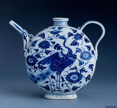 Blue & White Porcelain Flask-Shaped Ewer, Yuan Dynasty (1271-1368).