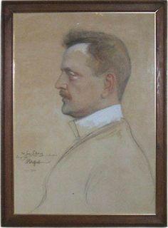 Jean Sibelius [born Johan Sibelius] (1865-1957), drawing (1904), by Albert Edelfelt (1854-1905).