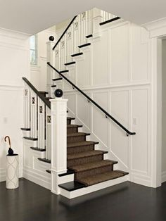 carpet on the stairs - Urbane shingle style Residence - traditional - staircase - san francisco - Polsky Perlstein Architects Sisal Stair Runner, Staircase Runner, Staircase Railings, Staircase Design, Stair Design, Stairways, Stair Runners, Staircase Walls, Wainscoting Stairs