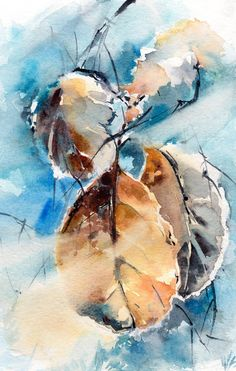 Original Watercolor Painting of Frozen Leaves Color theme: blue, amber Nature Watercolour Art One of a Kind Watercolour Art Size: 6x8 (15x20 cm) Medium: top branded watercolor paints on water color cold press paper 140 lb (300g) Signed front and back Dated on the back. Not framed. All