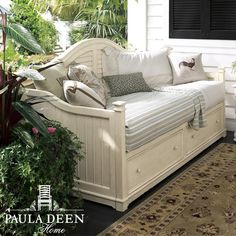 The Paula Deen Daybed with a linen finish from Universal Furniture is a part of the Paula Deen Home collection. This beautiful daybed is constructed of birch veneers over hardwood and features 2 stora Bedroom Furniture, Home Furniture, Beach Furniture, Furniture Outlet, Discount Furniture, Furniture Ideas, Under Bed Drawers, Wood Daybed, Patio Daybed