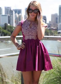 Magenta Fit & Flare Dress with Blue Embroidered Top Detail,  Dress, pleated dress  embroidered  skater skirt, Chic