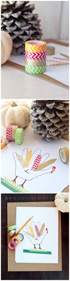 Washi Tape Turkey Handprint Craft » LifeCreated