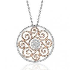 18ct White and Rose Gold Diamond Filigree Pendant and Chain
