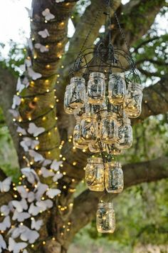mason jar light fixture barn wedding decor ideas / http://www.deerpearlflowers.com/perfect-rustic-wedding-ideas/2/