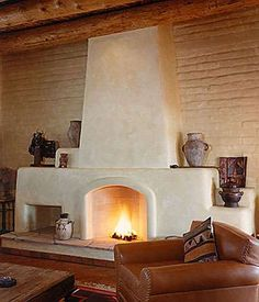 This Rumford fireplace was built in a classic pueblo style home in Albuquerque, NM. Our products blend beautifully with traditional adobe and viga construction method s. Ask about our Sealable Damper that makes fireplaces energy efficient.
