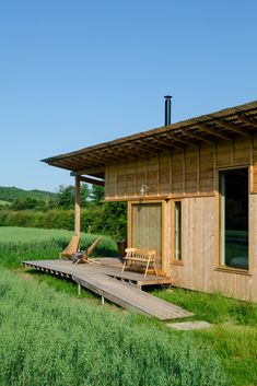 Out of the Valley designs and builds Holly Water Cabin on English farm Exeter, Devon, Wood Interior Walls, Ideas De Cabina, Modular Cabins, Modern Cabins, Canopy And Stars, Fire Pit Seating, Cabin Interiors