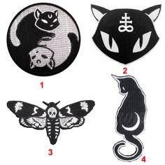 Satánico Negro Luna Gato de Halloween Brujería Mal Coser Patch Hierro Bordado