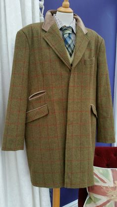 Men's Green Windowpane PURE Wool Tweed Paddock Over Coat Jacket BURBERRY 46/48' | eBay