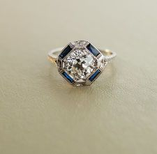 Antique Engagement Ring - 18k White Gold with 2 ct European Cut Diamond Classic and beautiful.