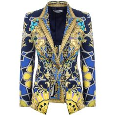 Versace Collection Jewel Baroque Print Blazer ($460) ❤ liked on Polyvore featuring outerwear, jackets, blazers, one button jacket, embellished jacket, blazer jacket, versace and summer jackets