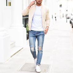 Tan #bomberjacket distressed jeans and white sneakers by @rowanrow [ http://ift.tt/1f8LY65 ]